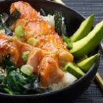 teriyaki salmon rice bowl - blog title