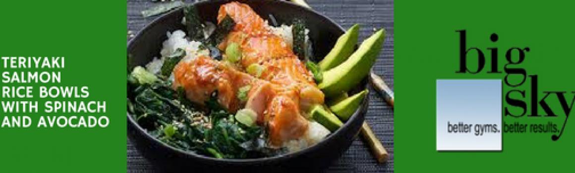 Teriyaki Salmon Rice Bowl with Spinach and Avocado